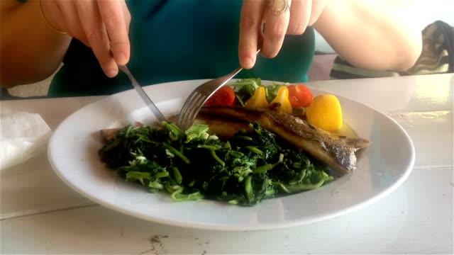 eating mediterranean fish - fork stock videos & royalty-free footage