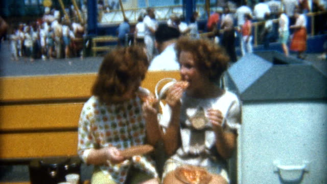 eating pizza 1960's - nostalgia stock videos & royalty-free footage