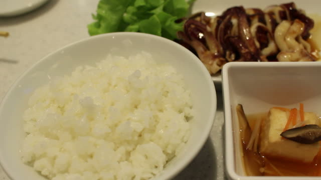 eating rice and squid japanese food - toro fish stock videos and b-roll footage