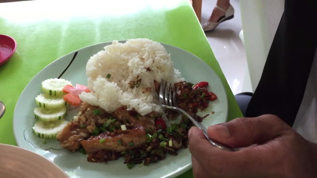eating rice with fried fish with garlic and pepper - savoury sauce stock videos & royalty-free footage
