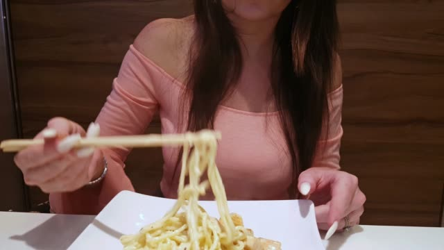 eating spaghetti - noodles stock videos & royalty-free footage
