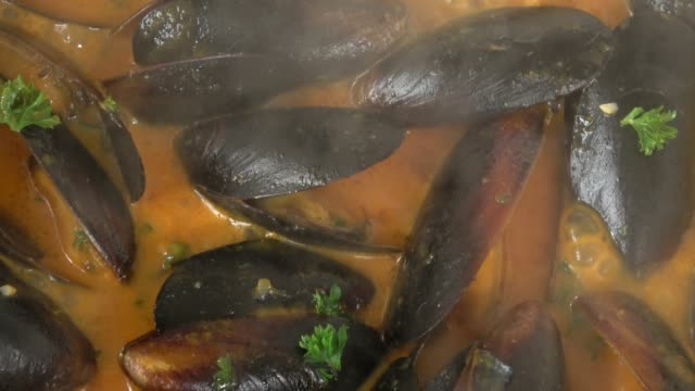 eating steamed pei mussels in savory tomato garlic sauce. - seafood stock videos & royalty-free footage