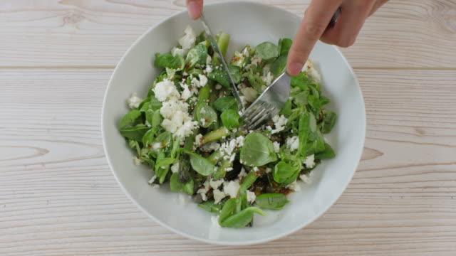 eating summer asparagus salad - asparagus stock videos & royalty-free footage