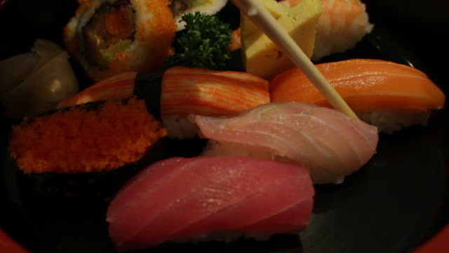 eating sushi japanese food - toro fish stock videos and b-roll footage