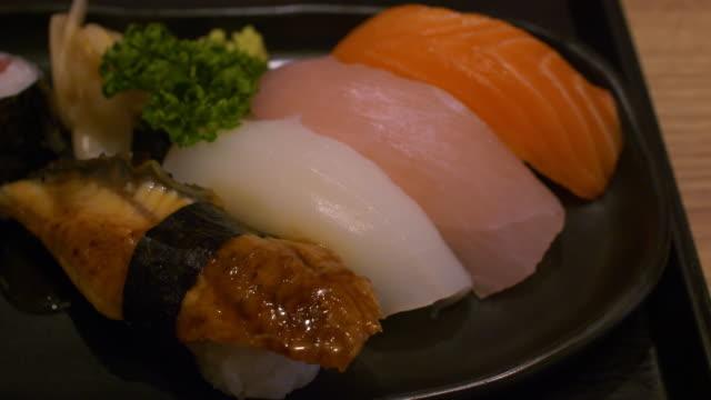 Eating sushi japanese food