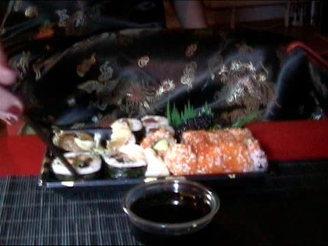eating sushi - frau stock videos & royalty-free footage
