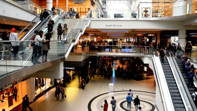 eaton centre shopping mall general view on a regular business day - shopping centre stock videos & royalty-free footage
