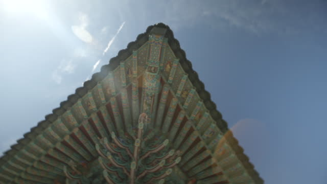 eaves and dancheong(korean traditional pattern) of jeungsimsa temple(gwangju cultural assets data 1) - eaves stock videos and b-roll footage