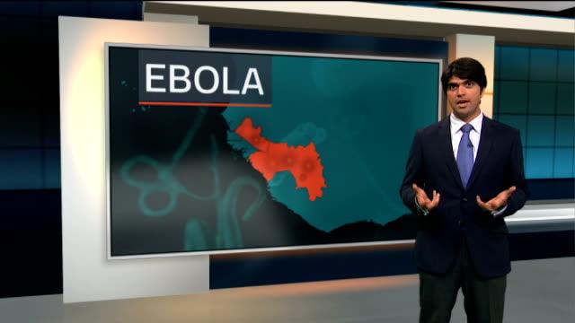 vídeos y material grabado en eventos de stock de spread of disease / london summit to tackle crisis england london gir int reporter to camera with videowall - crisis