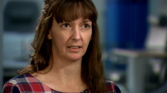 pauline cafferkey leaves hospital after recovering from ebola england london int pauline cafferkey interview sot - 退院点の映像素材/bロール