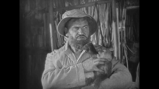 1925 eccentric explorer's pet monkey steals and plays with disgruntled man's glasses in tropics - grass hut stock videos & royalty-free footage