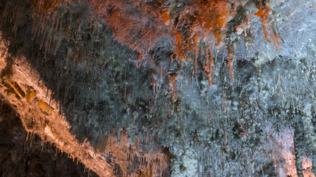 eccentric stalactites, el soplao is a cave located in the municipalities of rionansa, valdáliga and herrerías, cantabria, spain, europe - 石灰岩点の映像素材/bロール