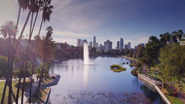 echo park lake, los angeles - drone shot - downtown district stock videos & royalty-free footage