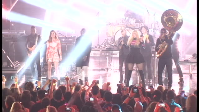 performance echosmith the roots and meghan trainor 2014 nickelodeon halo awards at basketball city pier 36 south street on november 15 2014 in new... - meghan trainor stock videos & royalty-free footage