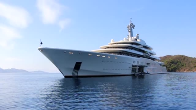 eclipse the private luxury yacht of russian billionaire roman abramovich anchors at hisaronu bay in marmaris district of mugla southwestern turkey on... - millionär stock-videos und b-roll-filmmaterial
