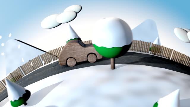 vídeos y material grabado en eventos de stock de eco de coches por la calle en invierno - coche híbrido
