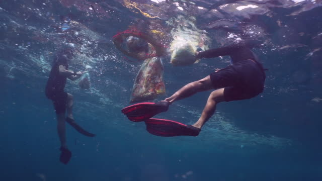eco tourist volunteers removing plastic pollution from the ocean - sustainable tourism stock videos & royalty-free footage