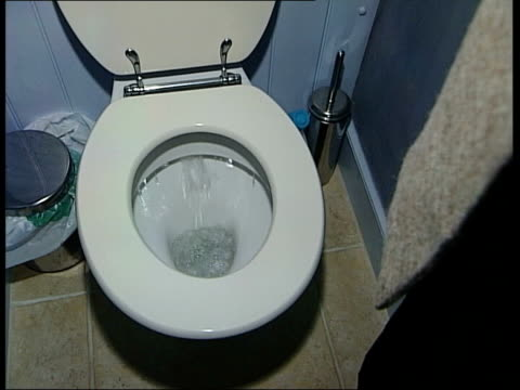 first nominee alastair sawday with austin flushing toilet sot into graphicised seq - 環境メディア賞点の映像素材/bロール