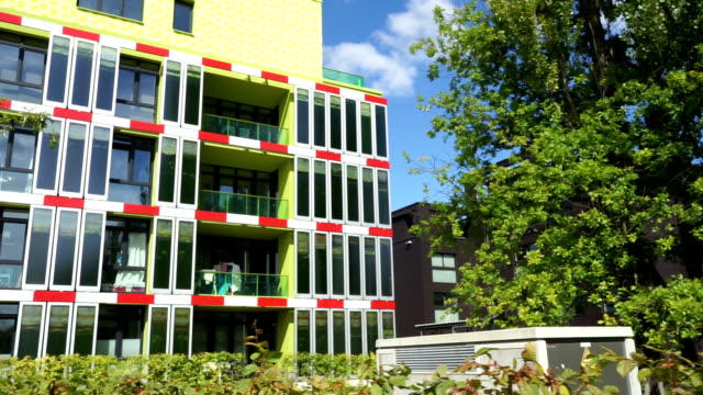 ecological sustainable green residence building - algae fuel video stock e b–roll