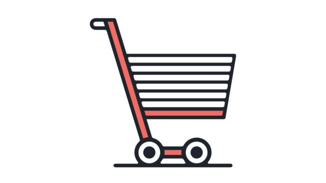 stockvideo's en b-roll-footage met e-commerce shopping cart platte lijn pictogram animatie met alpha - cartoon