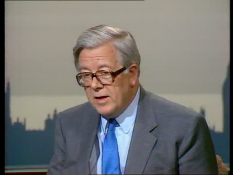 Econmic reaction to China demonstrations ITN ENGLAND London CMS Sir Geoffrey Howe MP intvwd doesn't want to adopt a hasty response to China problems...