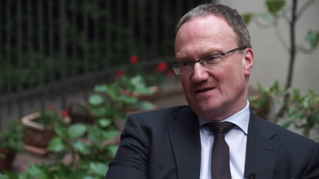 """economic expert professor lars feld saying the european elections are important in italy not just politically but for the prospects of the italian... - """"bbc news"""" stock-videos und b-roll-filmmaterial"""