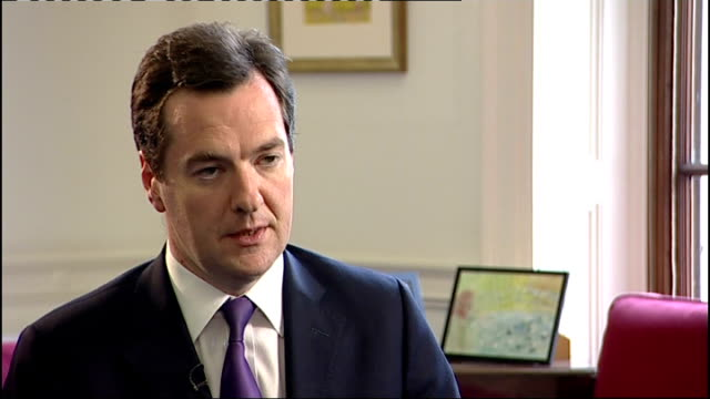 economic growth slows: effects on consumers; england: london: int george osborne mp interview sot - positive news that the economy continues to grow,... - first job stock videos & royalty-free footage