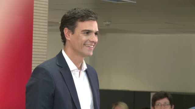 economist pedro sanchez was elected sunday as the new secretary general of spains troubled opposition socialist party with 485 percent of the vote - socialist party stock videos and b-roll footage