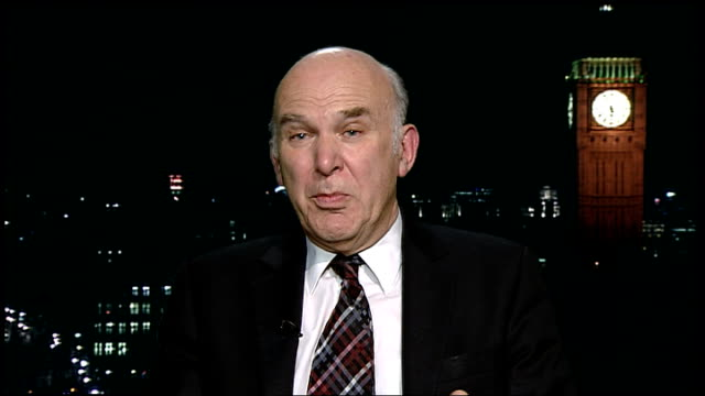 economists revise down their predictions for the economy and warn of recession england london gir int vince cable mp 2way interview sot savings from... - oeec video stock e b–roll