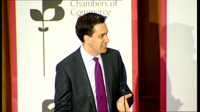 conference: ed miliband speech; ed miliband speech continued sot - refers to learning lessons of financial crisis in portugal - we would have halved... - politics and government点の映像素材/bロール