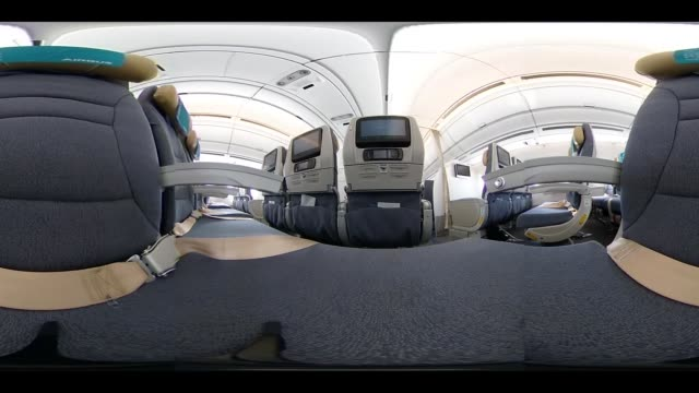 video was created as an equirectangular panorama import video into a panoramic player to create an interactive 360 degree view economy class seats... - airbus stock-videos und b-roll-filmmaterial