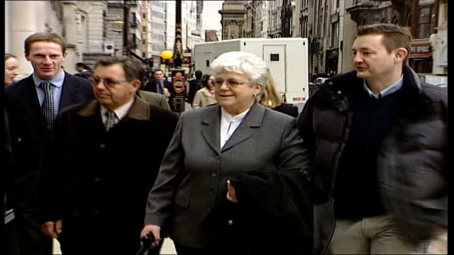 economy class syndrome: judge rules in favour of court action; england: london: old bailey: ext ruth christoffersen towards with friends into court - economy class stock videos & royalty-free footage