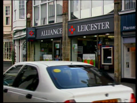 Consumer Enquiries LIB Bank signs Abbey National Lloyds TSB GV Alliance and Leicester branch Woolwich sign with National Westminster sign in b/g Nat...