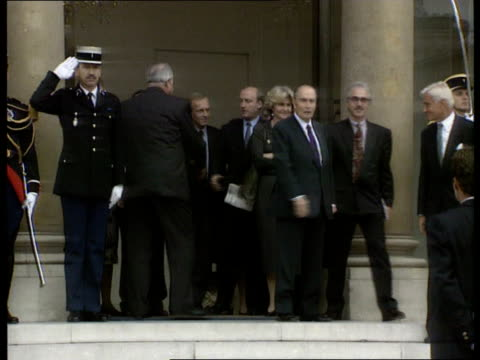 Economy Europe FRANCE Paris LA LMS Helmut Kohl with Francois Mitterrand next as shake with others next MS Kohl amp Mitterrand as Kohl towards down...