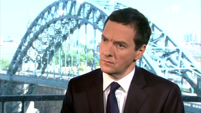 stockvideo's en b-roll-footage met interview george osborne england tyne and wear newcastle upon tyne int george osborne mp interview on latest gdp figures sot - tyne and wear