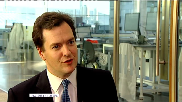 UK economy heading for triple dip recession R12011204 INT Osborne interview SOT There is an ongoing Eurozone crisis