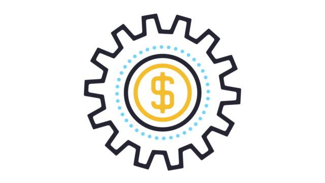 vídeos de stock, filmes e b-roll de animação do ícone de economia - arte linear