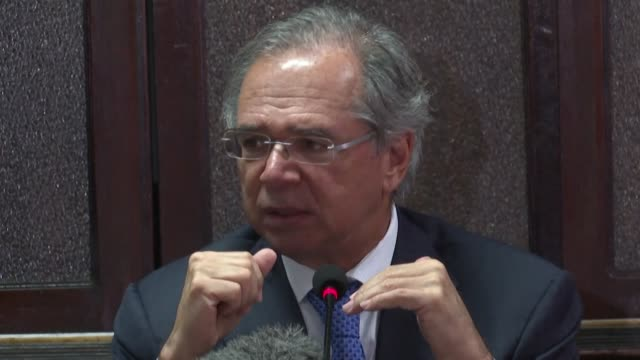 economy minister paulo guedes tells journalists that he will side with argentina's president if he opens the mercosur trade bloc - mercosur stock videos & royalty-free footage