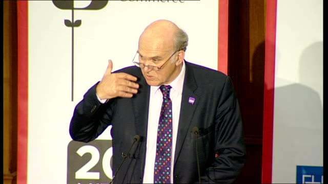 conference: vince cable speech; vince cable speech sot **flash photography** - we started a few months ago on a growth review / we asked all of... - vince cable stock videos & royalty-free footage