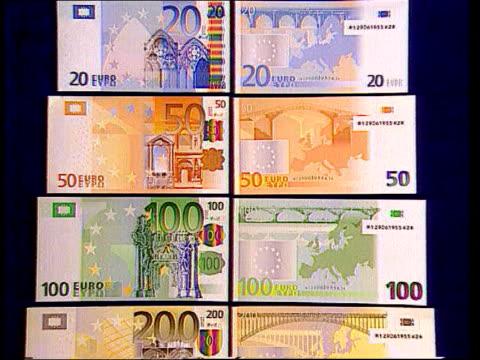 vídeos de stock, filmes e b-roll de eu single currency lib eire dublin designs for new euro notes displayed pull out euro notes tilt - moeda da união europeia