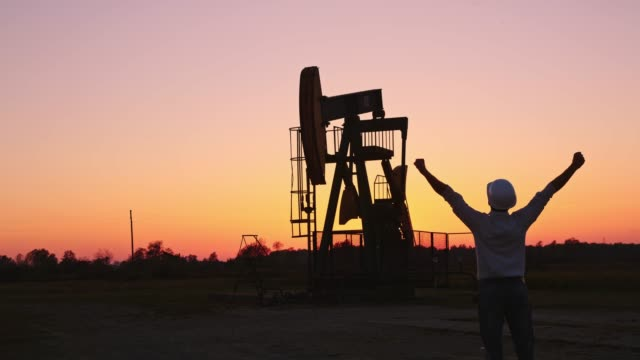 DS Ecstatic engineer checking the oil well at sunset