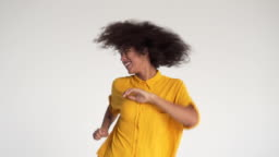 Ecstatic woman dancing and celebrating success