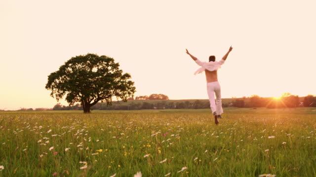 vídeos de stock e filmes b-roll de ws ecstatic young man running through a meadow at sunset - ensolarado
