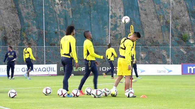 Ecuadorean national soccer team trains to face Uruguay on Thursday in Quito for the third round of the World Cup qualifier