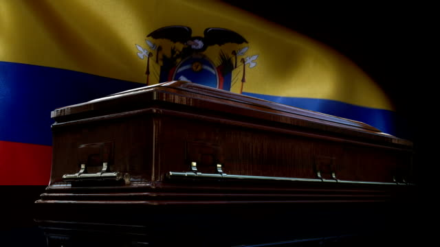 ecuadorian flag behind coffin - ecuador stock videos & royalty-free footage