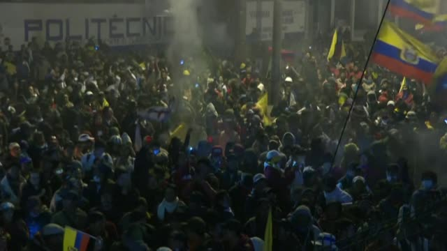 ecuadorians hit the streets to celebrate an agreement struck between president lenin moreno and indigenous leaders to end nearly two weeks of violent... - ecuador stock videos & royalty-free footage