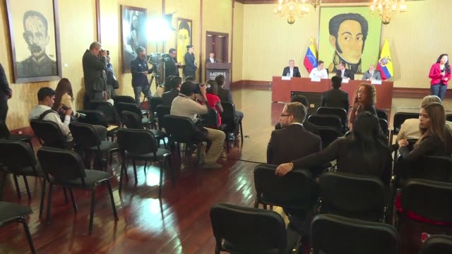 ecuador's foreign minister feels optimistic for the peace negotiations between the colombian government and the eln he said during his visit to... - ecuadorian ethnicity stock videos & royalty-free footage