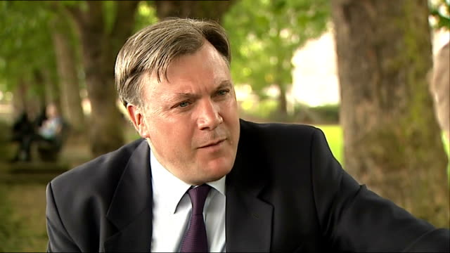 London Westminster EXT Ed Balls MP interview SOT Talks of falling living standards / talks of just a few benefitting from the economic recovery /...