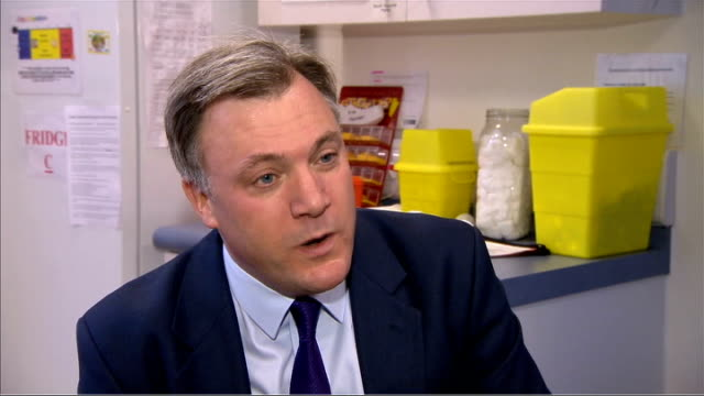 Ed Balls interview on Labour's NHS proposals ENGLAND INT Ed Balls MP interview SOT On NHS and crisis in AE / on investing bank fines into the NHS /...