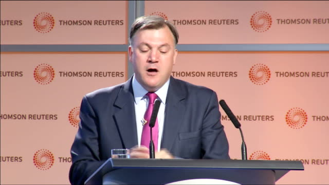 ed balls says wealthy pensioners will lose winter fuel payments if labour wins next election england london canary wharf thomson reuters int ed balls... - short phrase stock videos and b-roll footage